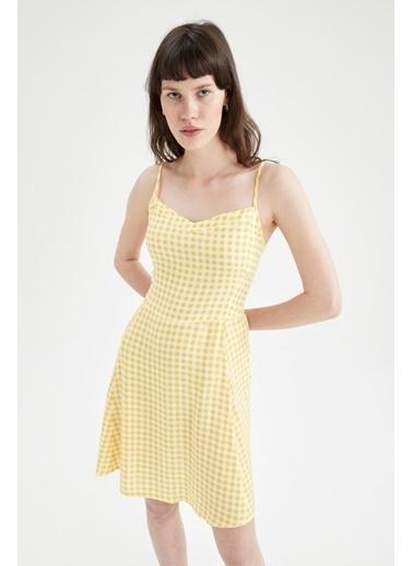 DeFacto Çiçekli V Yaka Ayarlanabilir Askılı Elbise Sarı